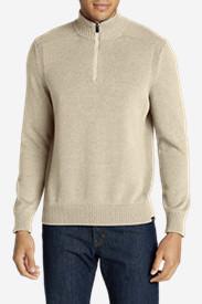 Men's Signature Cotton 1/4-Zip Sweater in Beige