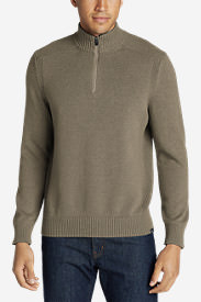 Men's Signature Cotton 1/4-Zip Sweater in Beige