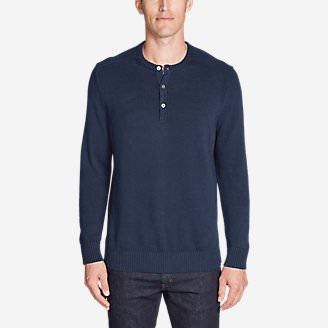 Men's Signature Cotton Henley Sweater in Blue