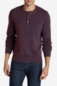 Men's Signature Cotton Henley Sweater in Blue