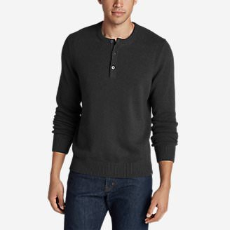 Men's Signature Cotton Henley Sweater in Black