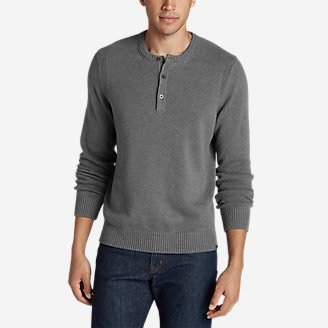 Men's Signature Cotton Henley Sweater in Gray