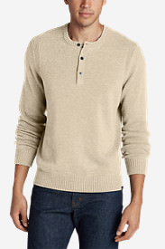 Men's Signature Cotton Henley Sweater in Beige