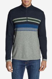 Men's Ski Stripe 1/4-Zip Sweater in Blue