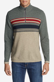 Men's Ski Stripe 1/4-Zip Sweater in Beige