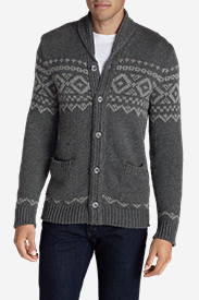 Men's Snow Bridge Cardigan Sweater in Black
