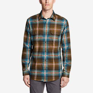 Men's Eddie Bauer Expedition Performance Flannel Shirt in Brown