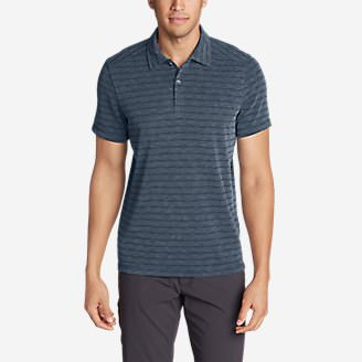 Men's Contour Short-Sleeve Polo Shirt - Stripe in Blue