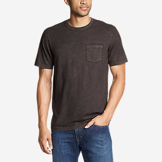 Men's Legend Wash Short-Sleeve Slub Pocket T-Shirt in Black