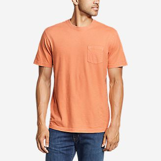Men's Legend Wash Short-Sleeve Slub Pocket T-Shirt in Orange