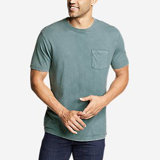 Men's Legend Wash Short-Sleeve Slub Pocket T-Shirt in Green