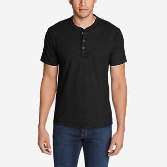 Men's Legend Wash Short-Sleeve Slub Henley Shirt in Black