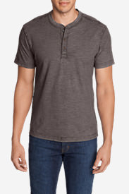 Men's Legend Wash Short-Sleeve Slub Henley Shirt in Purple
