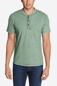 Men's Legend Wash Short-Sleeve Slub Henley Shirt in Blue