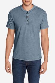 Men's Legend Wash Short-Sleeve Slub Henley Shirt in Blue