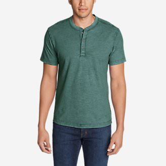 Men's Legend Wash Short-Sleeve Slub Henley Shirt in Green