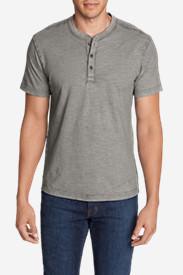 Men's Legend Wash Short-Sleeve Slub Henley Shirt in Gray