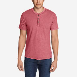 Men's Legend Wash Short-Sleeve Slub Henley Shirt in Red