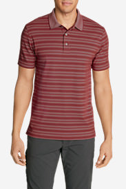 Men's Voyager 2.0 Short-Sleeve Polo Shirt - Classic Fit, Stripe in Red