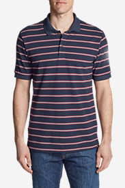 Men's Performance Piqué Striped Polo Shirt in Blue