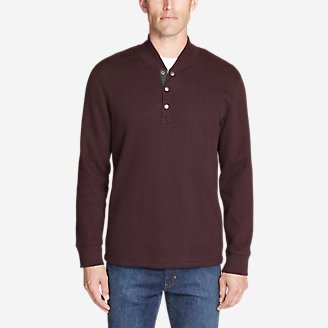 Men's Sherpa-Lined Thermal Henley in Red