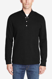 Men's Sherpa-Lined Thermal Henley in Black