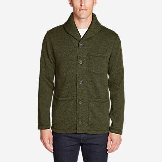 Men's Radiator Fleece Shawl Cardigan in Green