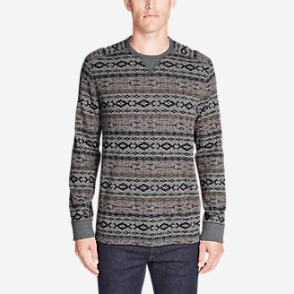 Men's Thermal Long-Sleeve Crew - Print in Gray