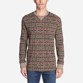 Men's Thermal Long-Sleeve Crew - Print in Beige