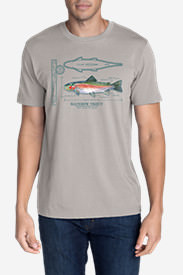 Men's Graphic T-Shirt - Rainbow Trout in Gray