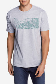Men's Graphic T-Shirt - Sketched Yosemite in Gray