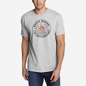Men's Graphic T-Shirt - Northwest Campfire in Gray
