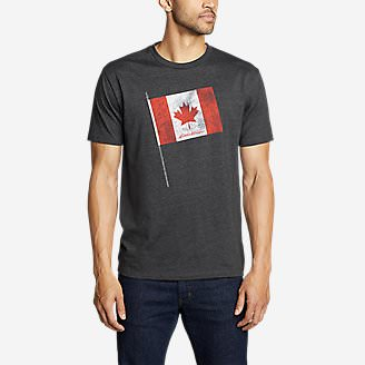 Men's Graphic T-Shirt - Canada Flag Pole in Gray