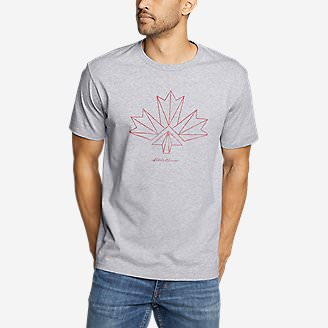 Men's Graphic T-Shirt - Canada Vector Leaf in Gray
