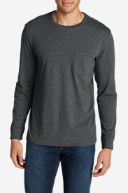 Men's Legend Wash Long-Sleeve Pocket T-Shirt - Classic Fit in Gray