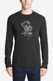 Men's Graphic Thermal Crew - Man's Best Friend in Gray