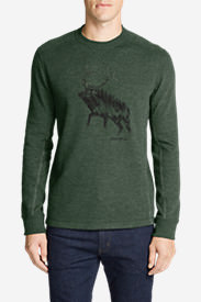 Men's Graphic Thermal Crew - Elk Forest in Green