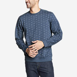 Men's Camp Fleece Crew Sweatshirt - Print in Blue