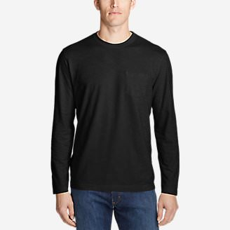 Men's Legend Wash Slub Long-Sleeve T-Shirt in Black