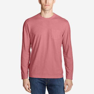 Men's Legend Wash Slub Long-Sleeve T-Shirt in Red