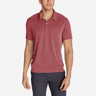 Men's Contour Performance Slub Polo Shirt in Red