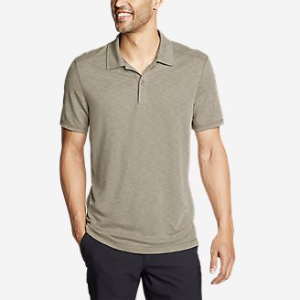 Men's Contour Performance Slub Polo Shirt in Beige