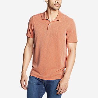 Men's Contour Performance Slub Polo Shirt in Orange