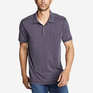 Men's Contour Performance Slub Polo Shirt in Purple