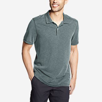 Men's Contour Performance Slub Polo Shirt in Green