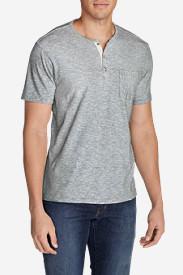 Men's Ferox Short-Sleeve Henley Shirt - Micro Stripe in Gray