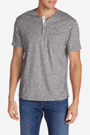Men's Ferox Short-Sleeve Henley Shirt - Micro Stripe in Brown