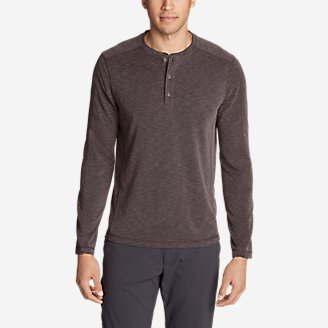 Men's Contour Long-Sleeve Henley Shirt in Red
