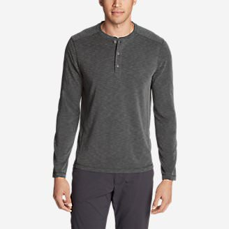 Men's Contour Long-Sleeve Henley Shirt in Gray