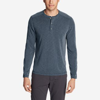 Men's Contour Long-Sleeve Henley Shirt in Blue